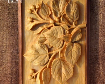 "Woodcarving in a frame ""LIME"", handcarved wall art from limewood 33x22 cm"