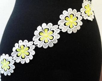 Yellow green & white Flower trim