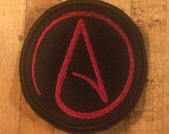 Red Atheism iron on canvas patch