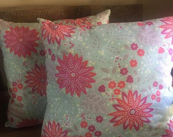 Floral Set of 2 Decorative Pillows-Home Decor-Living Room-Bedroom-17 x 17-Handmade