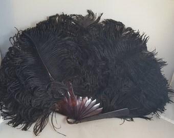 Antique Victorian Black Ostrich Feather Fan