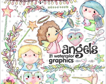 75%OFF - Angel Clipart, Angel Graphic, COMMERCIAL USE, Kawaii Clipart, Watercolor Angel, Planner Accessories, First Communion, Christian