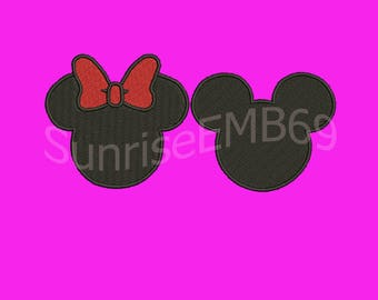 7 Sizes**Mickey & Minnie Embroidery design- 8 formats machine embroidery design - Instant Download machine embroidery pattern