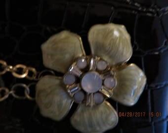 Enamel  flower center necklace