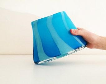 Big glass vase, light blue color striped in darker blue, Murano style