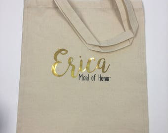 Personalized Bridal Canvas Tote