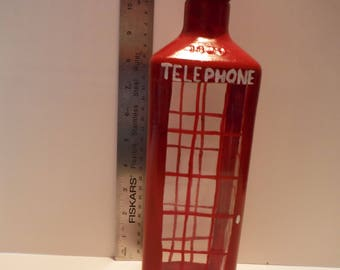Handpainted Bottle London Phone Booth Telephone