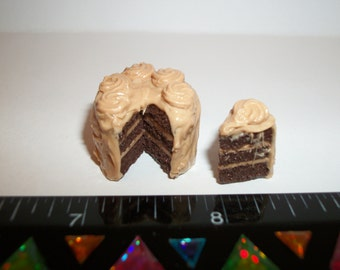 1:12 One Inch Scale Dollhouse Miniature Handcrafted Valentines Day Chocolate Caramel Dessert Cake