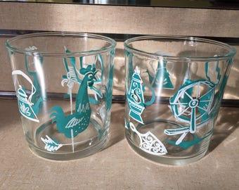 1 Pair Hazel Atlas Sour Cream Glasses