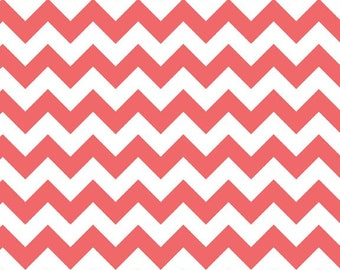 Small Chevron in Rouge - Riley Blake Fabric - Coral Chevron Fabric - Rouge Chevron Cotton - Riley Rouge Fabric - Coral Zig Zag Fabric