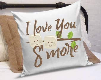 I Love You S'More- Pillow Cover IRON ON Transfer Printable