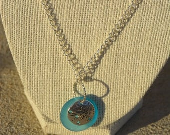 Sea Glass Sand Dollar Necklace and Earrings