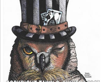 Great Horned Owl Art, Animal Portrait, Hand Drawn, Print, Mixed Media, Steam Punk, Top Hat, Owl Portrait, Wall Decor, Pen and Ink