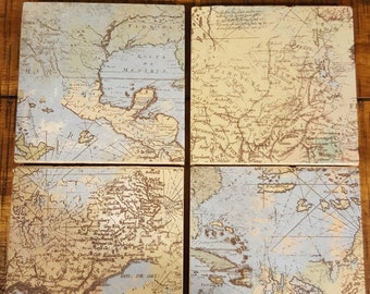 Set of 4 travertine tile coasters World Map