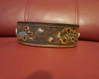 6 inch leather cuff with acorns