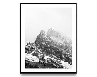 Mountain print art, mountain prints, mountain wall art, mountain printable, Mountain Top, Black and White, Wall Art Poster Print
