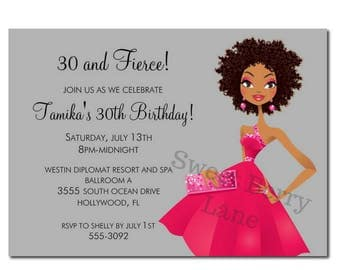 African American Party Invitation | African American Birthday Party Invitation | 30th Birthday | 40 Birthday | 50th Birthday | 60th Birthday