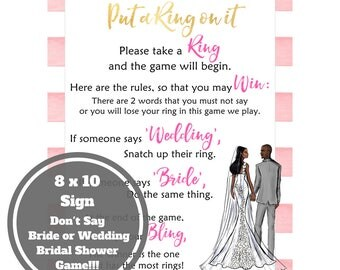 Dont Say Bride Bridal Shower Game - African American Bridal Shower Game Download - 8 x 10 Bridal Shower Sign -Instant Printable - Pink