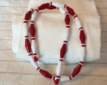 RESERVEDMSJRed n White Unique Shape Beaded Necklace