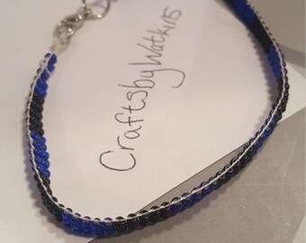 Blue and black Seed bead loomed bracelet A29
