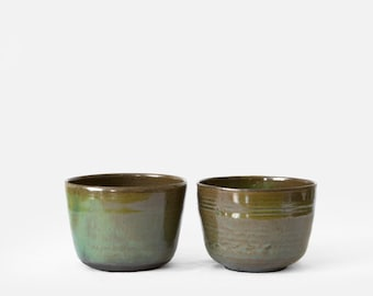 Pair of turquoise stoneware bowls, wheel-thrown ceramic handmade