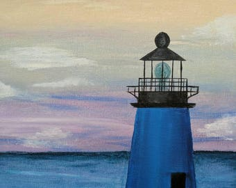 "Keeper of the Reach; Original Lighthouse Painting, Virginia Seascape; 9x12"" canvas"