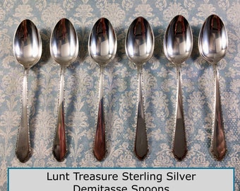 REDUCED!  Choice of One Vinntage Lunt Treasure William & Mary Sterling Silver Demitasse Spoon Pat'd 1921 NO Monogram 6 Available