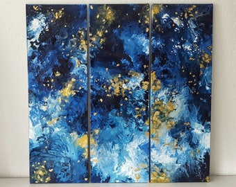 Triptych blue white-gold three times 30 x 90