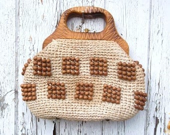 Vintage 50s 60s woven crochet knitted beaded hand bag purse