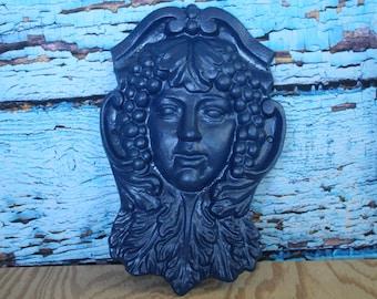 "Cast Iron Goddess Face (Royal Blue)  Wall Hanging 10""W x 15""H x 2.5""D"