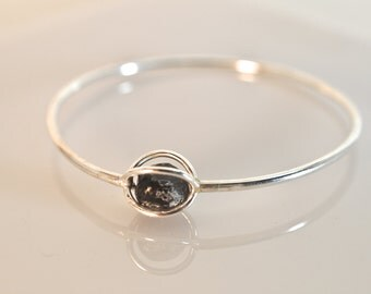 Sterling Silver Cage and Apache Tear Bracelet