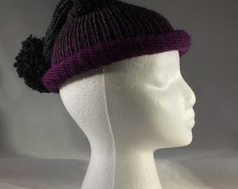 Rolled edge purple and grey ombre hat with pom pom