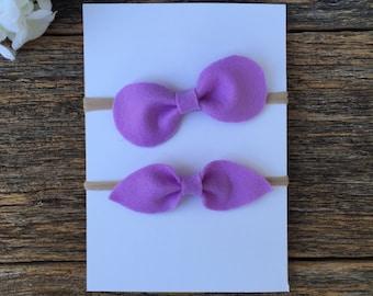 Lavender felt headband, baby felt headband, girl felt headband, felt bow headband, nylon headband- Choose 1 style