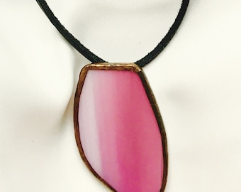 Handmade exclusive necklace with pendant of pink Tiffany glass