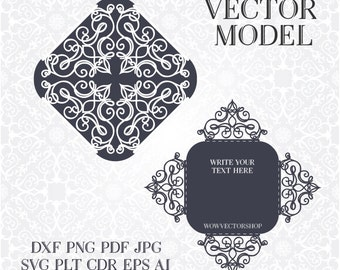 Laser cut Envelope Template for wedding invitation or greeting card, Printable Papercut/ 9 vector formats, PLT, DXF, SVG, cdr - Commercial