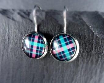 Earrings, earrings, earrings, diamonds, pink, turquoise, Cabochon, 1 pair,