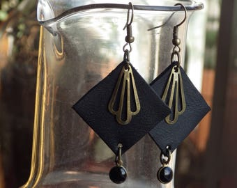 Recycled leather earrings. Unique creation