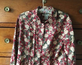 Floral vintage shirt size small 80's 90's
