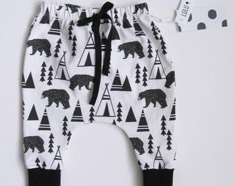 Baby boy harem pants, toddler harem pants - Bear print - organic, baby boy pants, organic pants, harem pants