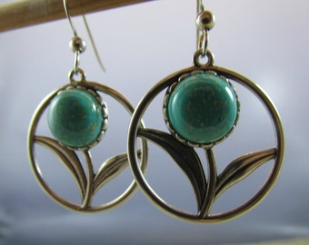 Handmade amazonite and sterling silver dangle earrings