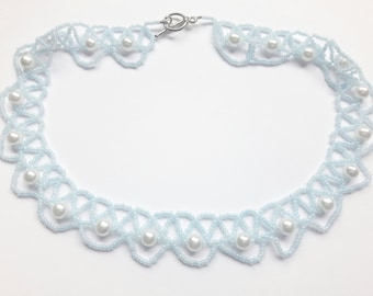Ice Blue Lace and Swarovski Pearl Beaded Necklace