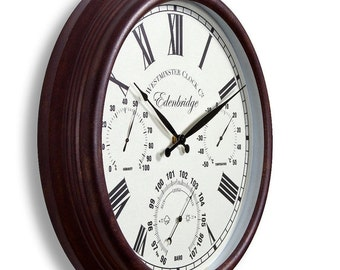 uk extrieur jardin murale horloge thermomtre humidit mtre baromtre 38cm rouille couleur