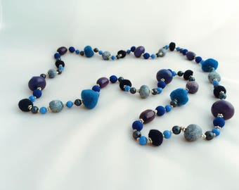 Extra long Necklace , Blue Necklace , Giftforher, UK Sellers only , Designer , Beaded Necklace , Statement Necklace, Bib Necklace