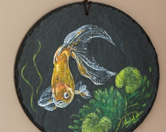 Fish painting with acrylics on stone.