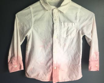 Size 4T long sleeve button up bleached distressed repurposed