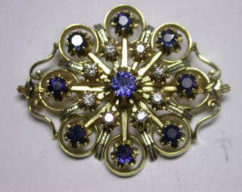 Sapphire, Diamond and 14K Gold Brooch