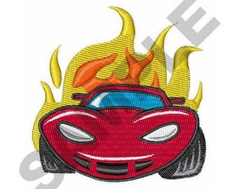 Flaming Car - Machine Embroidery Design