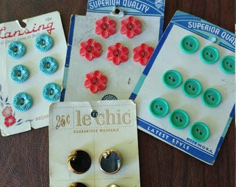 Vintage Buttons:  Lot of 4 Cards of Decorative Buttons From Lansing, Superior Quality and Le Chic