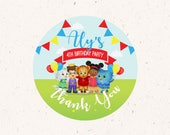 Daniel Tiger's Neighborhood Circle Tags, red, blue, and yellow, 2in Circle Toppers, Favor labels