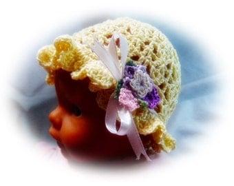 Delicate crochet hat for baptism